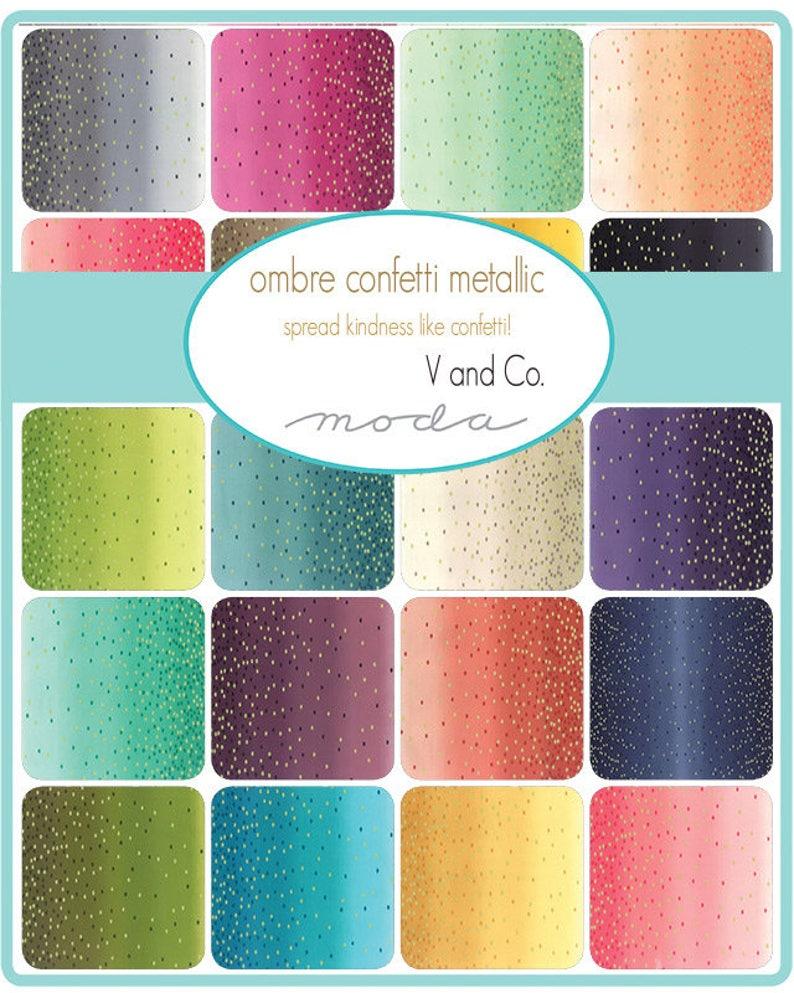 Ombre Confetti Metallic SALE! V and Co Vanessa Christenson Moda Fabrics Teal 12 Yard Fabric Yardage 10807-31M