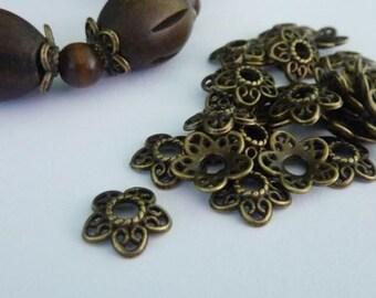60 pce Fancy Ornate Antique Flower Bead Caps 12mm Bronze or Silver Tone
