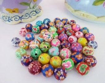 50 pce Handmade Polymer Clay Round Beads about 10mm Jewellery Making Crart