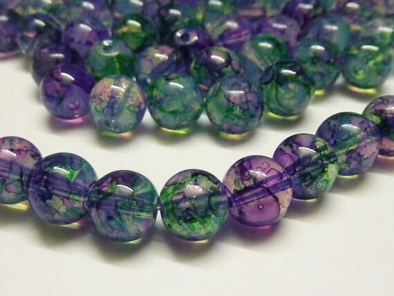 100 pce Blue Round Drawbench Glass Beads 8mm Jewellery Making Craft