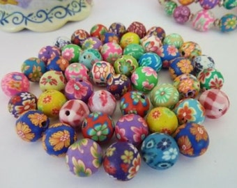 50 pce Handmade Polymer Clay Round Beads about 8mm Jewellery Making Craft