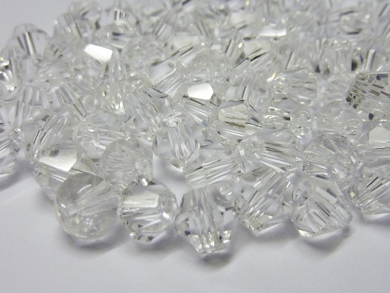 80 pce Faceted Bicone Pink Crystal Glass Beads 6mm Jewellery Making Craft