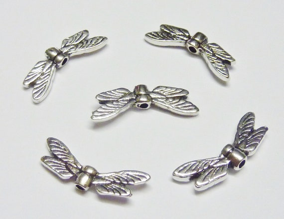Craft Charm Spacer Beads Angel Fairy Wings Making Craft Antique Silver Tone