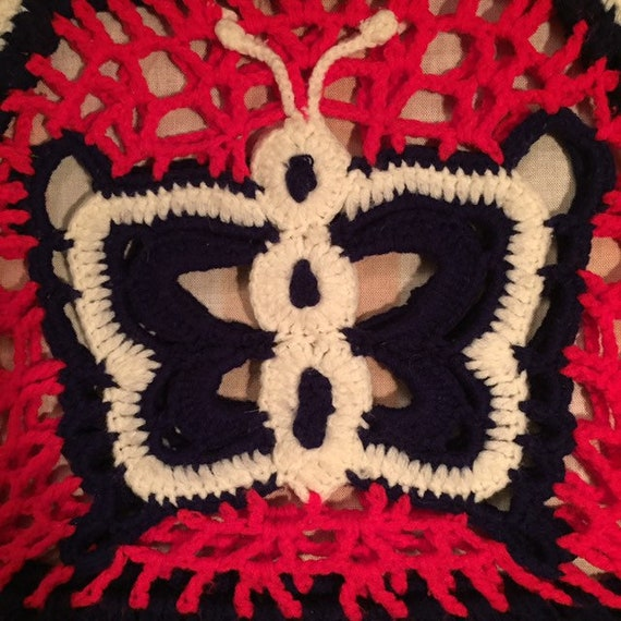 Butterfly Granny Square Red, White, And Blue Croc… - image 3