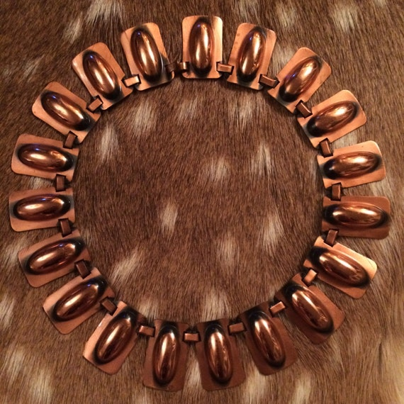 Egyptian Revival Copper Choker Necklace - image 1