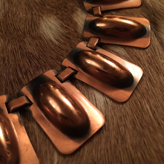 Egyptian Revival Copper Choker Necklace - image 2
