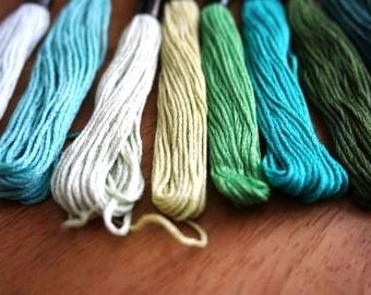 5 x Shades of Green Cotton Threads - Friendship Bracelets - Cross Stitch - Embroidery