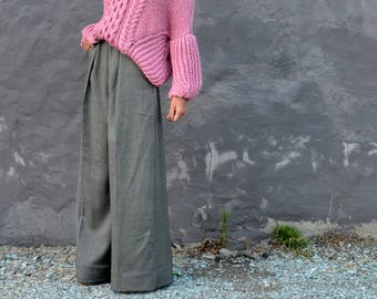 Palazzo Pants, Mother's Day Gift, Wide Leg Palazzo Pants, Plus Size Trousers, High Waisted Pants with Pockets, Loose Fit Pants, Grey Wool