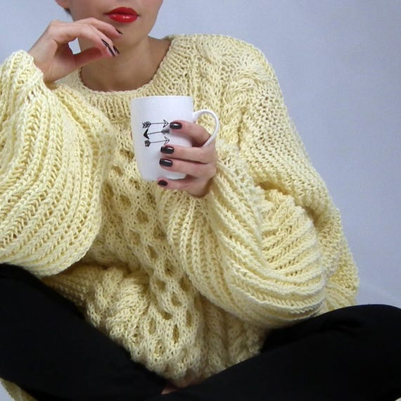 Cable Knit Sweater, Oversized Sweater, Chunky Sweater, Knit Sweater, Plus Size Sweater, Loose Fit Sweater, Christmas Gift, Gift for Her
