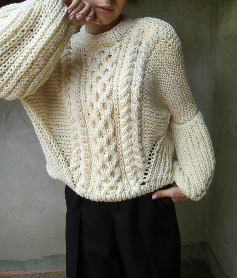 Chunky Knit Sweater Cable Knit Sweater in Sand Loose Knit  9f72fef79