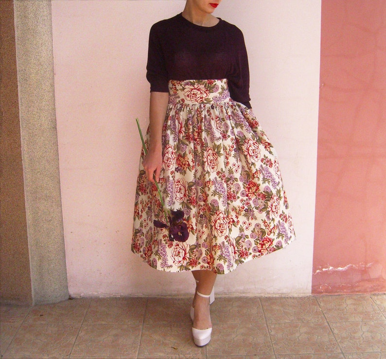56491407831 High Waisted Plus Size Skirt Floral Maxi Skirt 50 s