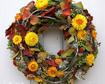 FRI-Collection door wreath autumn wreath with yellow straw flowers handmade yellow 38 cm