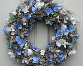 Fri-Collection door wreath wreath with blue hydrangea silk flowers 37 cm