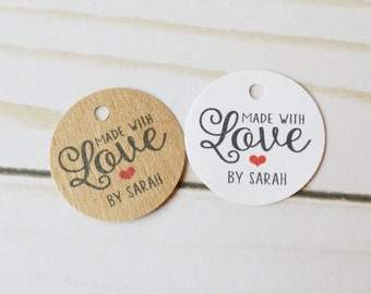 Made with Love - Mini 1 inch or 1.25 inch tags - Custom Gift, Merchandise Tags, Hang Tags, Gift Tags and Jewelry Tags