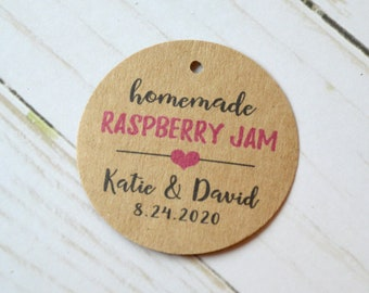 Homemade Jam Kraft Round Label Tags - Custom Wedding Favor & Gift Tags - 1.5 inch or 2 inch avialable