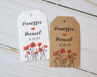 Poppies Kraft Brown or White Small Label Tags - Custom Wedding Favor & Gift Tags - Choice of Colors - Poppies Kraft