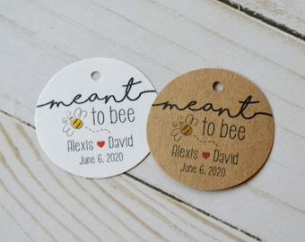 """Meant to Bee 1.5"""" or 2"""" Round Small Label Tags - White or Kraft Brown Custom Wedding Tags"""