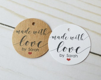 Made With Love Round Kraft Brown Label Tags - Custom Favor Tags, Hang Tags, Gift Tags - 1.5 inch or 2 inch tag available