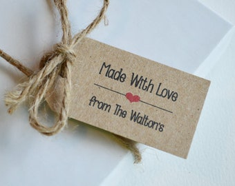 Made with Love - 1.25 x 2.25 or 2 x 3 tags - Custom Gift, Merchandise Tags, Hang Tags, Gift Tags and Jewelry Tags