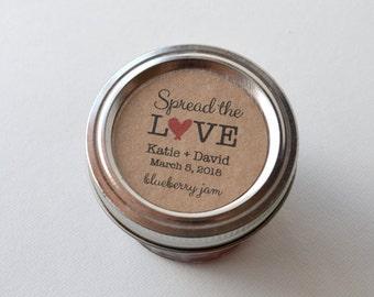 "2"" Round Sticker Label Tags - Custom Wedding Favor & Gift Tags - Spread the Love Jam Flavor Kraft"