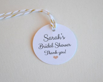 Custom Bridal or Baby Shower Favor & Gift Tags, Round Small Label Tags, 1.5 inch or 2 inch
