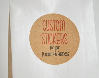 "30 Kraft Brown 1.5"" Round Sticker Label Tags - Custom Sticker Printing"