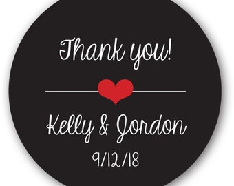"""20 Glossy 2"""" Round Sticker Label Tags - Custom Wedding Favor & Gift Tags - Choice of Colors - Thank You Heart"""