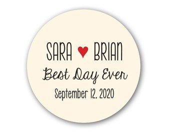 """Best Day Ever 1.5"""" or 2"""" Round Sticker Label Tags - Custom Wedding Favor & Gift Tags"""