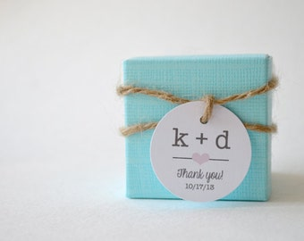 """Mini Thank You 1.5"""" Round Small Label Tags - Custom Wedding Favor & Gift Tags - Choice of Colors - Typewriter Initials"""