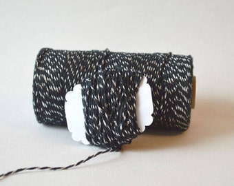 Black and Silver Twine - 25ft Bundle - Black and Silver Metallic Divine Twine