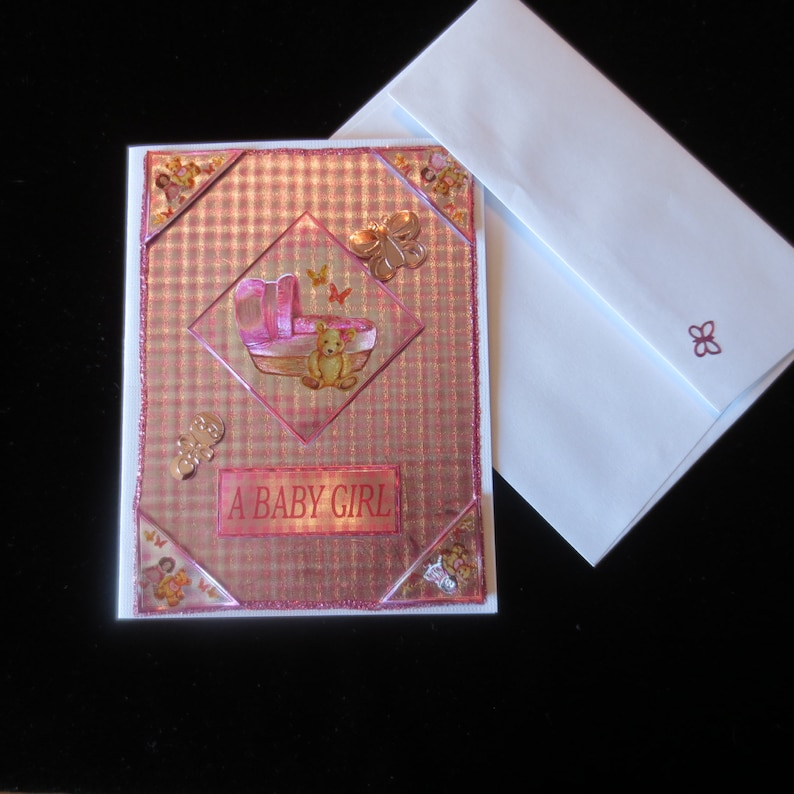 Adorable shiny pink plaid /'baby girl/'  congratulations card