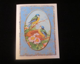Pretty bluebird and nest Mom 'Just for You' card