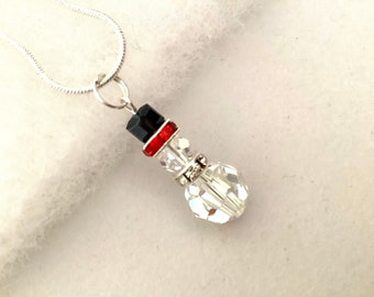 YaoX Merry Christmas Snowman Cartoon Illustration Pendant Vintage Necklace Silver Key Jewelry