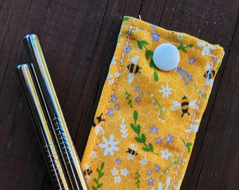 Bee Pattern Reusable Metal Straw Pouch
