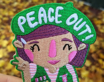 Peace Out Girl Embroidered Iron-on Patch