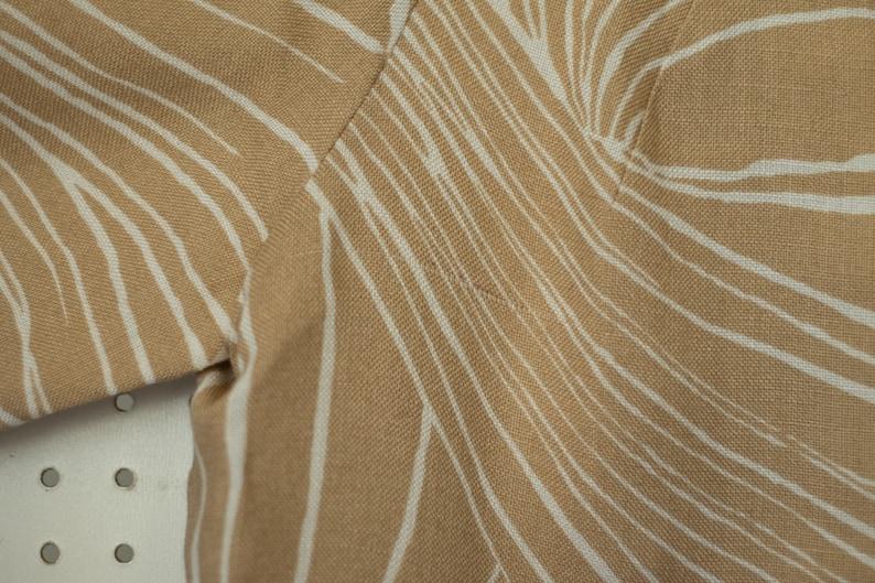 Vtg Eve le Coq Beige and White Linen Jacket  1960s Wide Cuff  Elegant Floor Length Coat