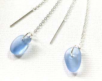 Sea Glass Earrings Sterling Silver Genuine Beach Glass Garden Leaf Seaside Cornflower Blue Threaders