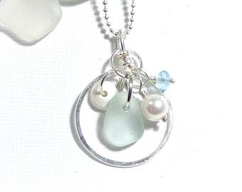 Sea Glass Jewelry Circle Sea Glass Necklace Beach Weddings Charm Necklace Beach Glass Necklace Seaglass and Hawaiian Puka Shell Jewelry