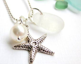 White Sea Glass Necklace Genuine Beach Glass Necklace Seaglass Jewelry Charm Necklace Starfish Seaglass Wedding Necklace