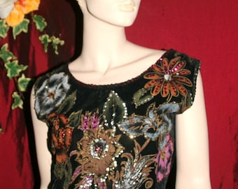 Vintage '50s Cotton Velveteen Sequin Mexican Floral Shell Top SALE PRICE down from 42 dollars Painted Roses Metallic Ruby Purple Silver Gold