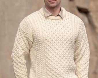 Traditional Aran Sweater, Irish Fisherman Sweater,100% Soft Merino Wool- MADE IN IRELAND- Heavyweight- White