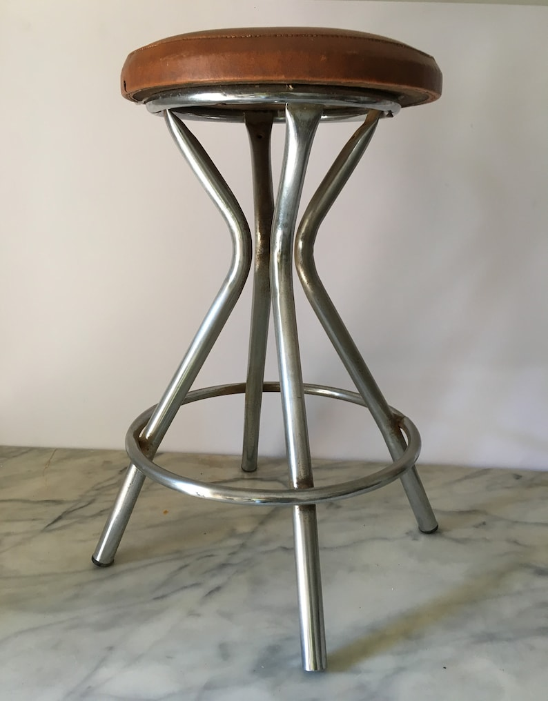 Awesome Vintage Italian Leather Stool Camellatalisay Diy Chair Ideas Camellatalisaycom