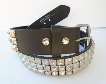 Black New High Quality 3 Row Mix Spike Studded Real Leather Made In England