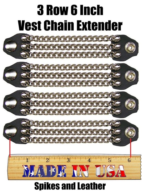 Handcrafted Leather//single Motorcycle Chain Vest Extender Gold Cross