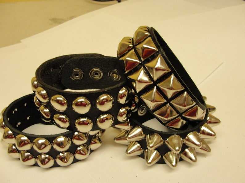 1-1/4  32 mm Wide Genuine Leather studded Wristband image 0