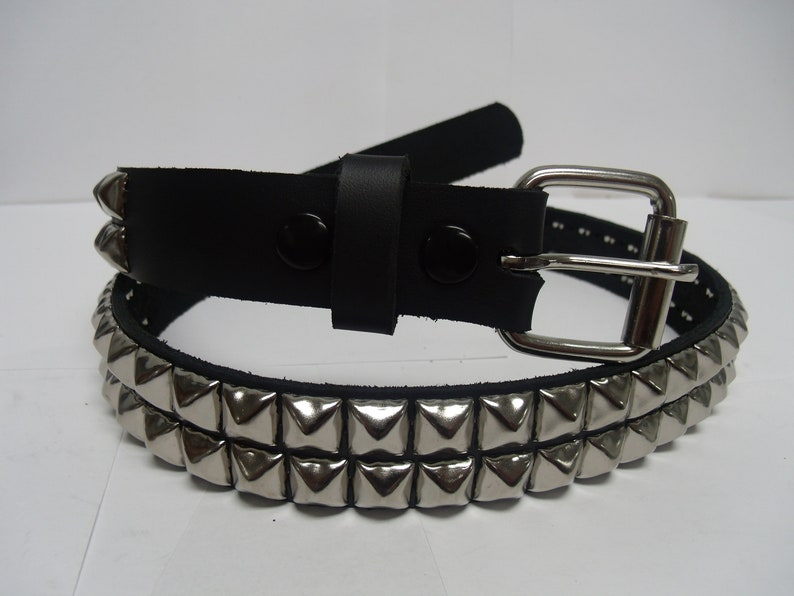 1-1/4 32mm wide Genuine Leather Belt with 2 rows image 0