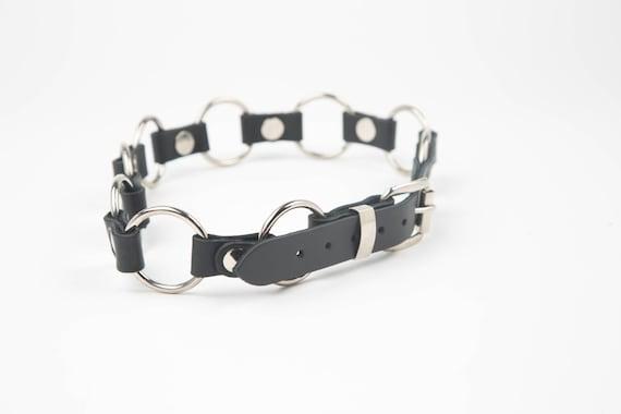 Steampunk ronde Rivet O bague ceinture en cuir noir véritable   Etsy 98c10d7670a