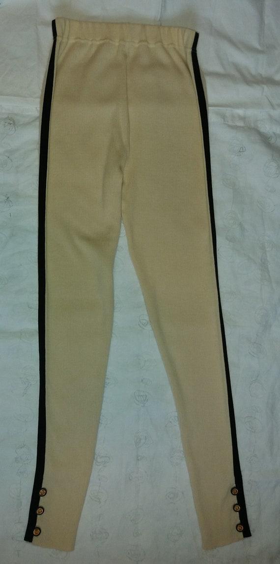 Authentic Chanel Vintage Wool knit Leggings pants… - image 1