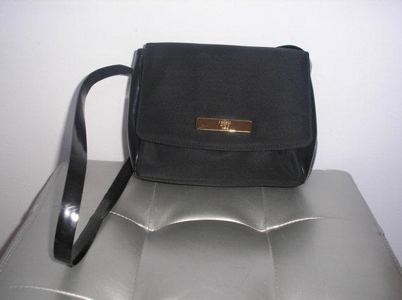 Authentic GIANNI VERSACE Black Patent Leather Fabric Shoulder  2e0e696144af0