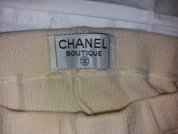 Authentic Chanel Vintage Wool knit Leggings pants… - image 4